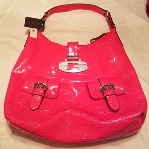 GUESS Bag Purse Hot Pink, Logo & Rhinestones NWT